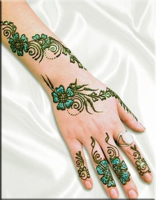 Henna Green flowers designs
