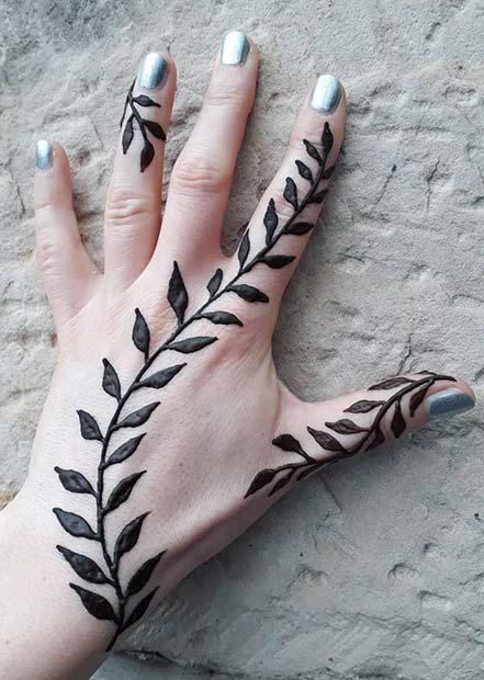 Henna Leaf Tattoo Design