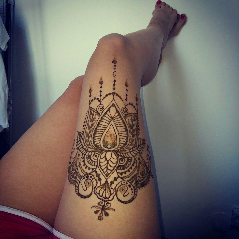 Henna Upper Thigh Tattoo design for legs