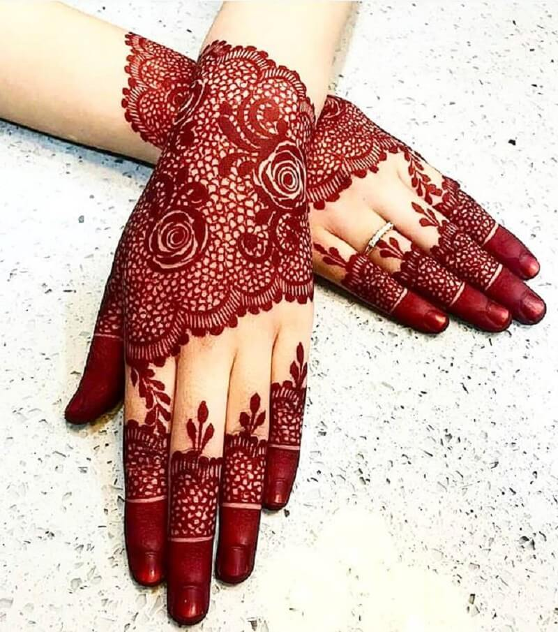 Hennaa Red lace designs