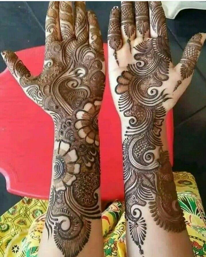 Latest kurwa chauth design mehndi for hands