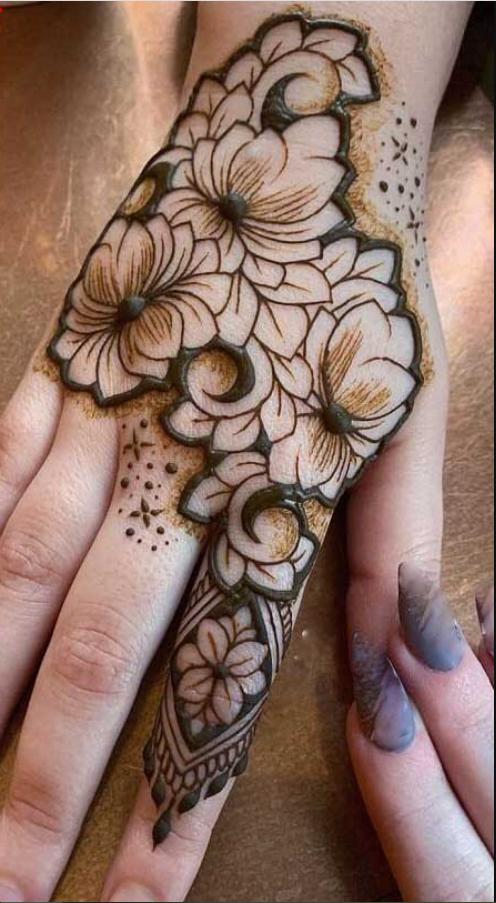 Lotus Henna bloom design