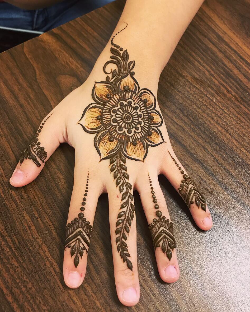 Arabic New and Beautiful Mehndi Designs For Kids