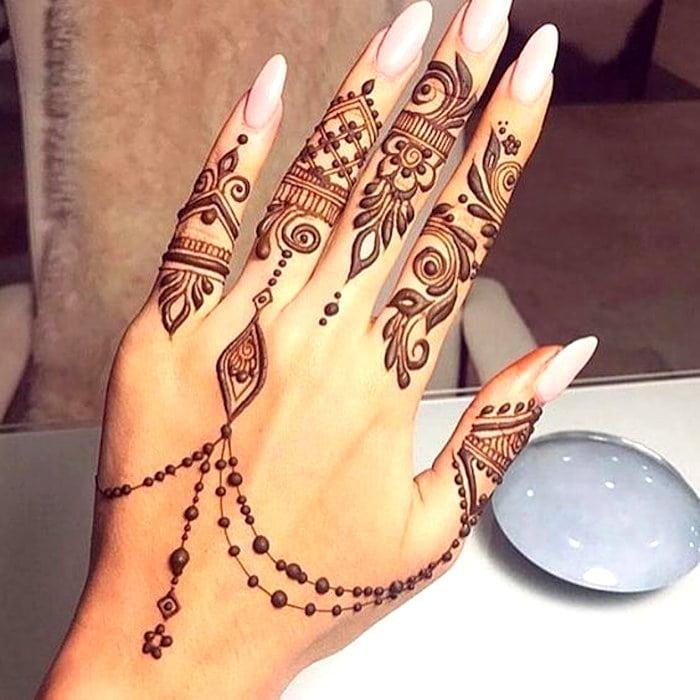 Easy Mehndi Lovely Design For Fingers