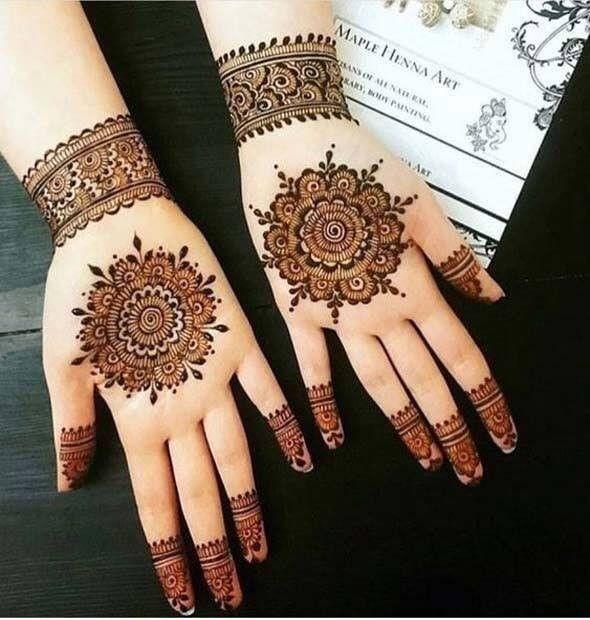Front Hand Mehndi Design Tikki