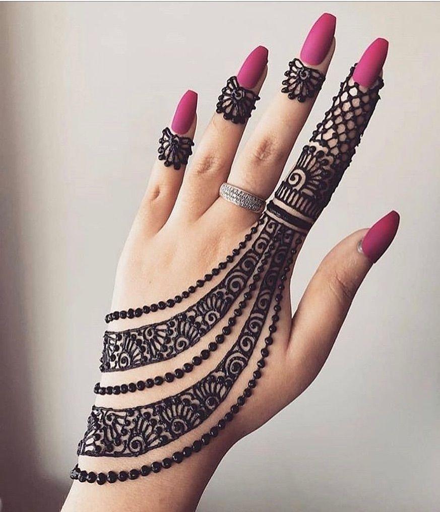 Latest Mehndi Designs For Fingers backside