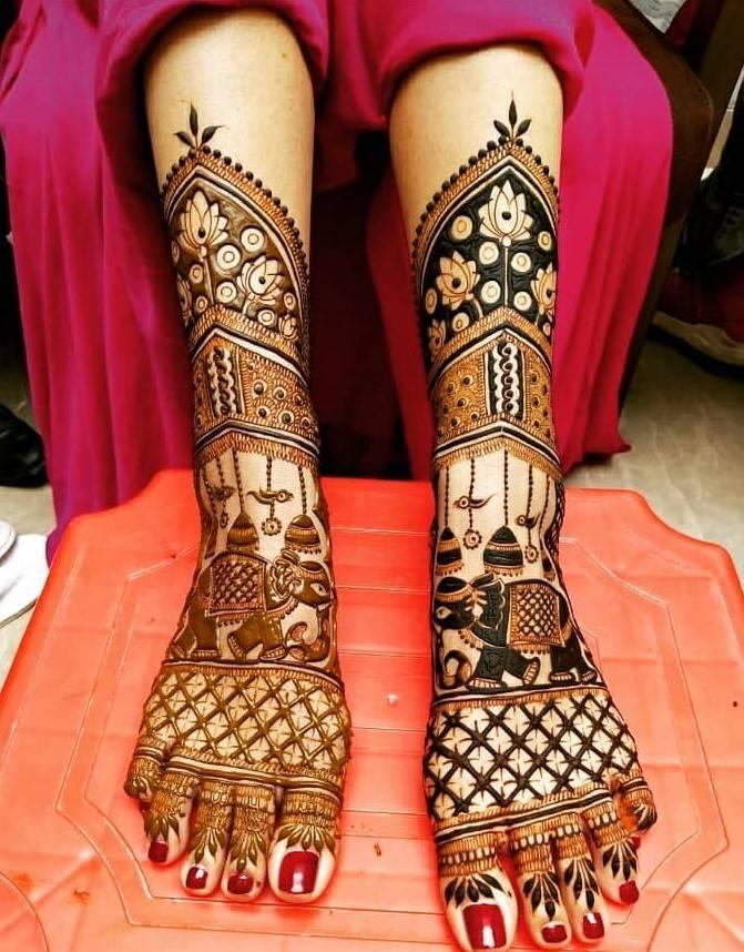 Leg Mehndi Designs For Bride
