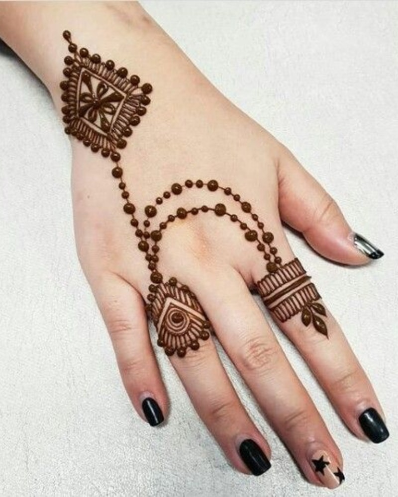 Mehndi Designs For Fingers backside Latest style