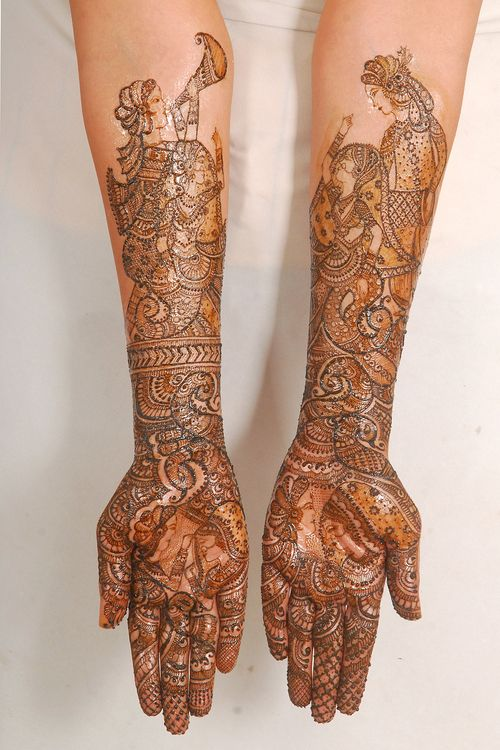 Rajwadi mehndi latest design