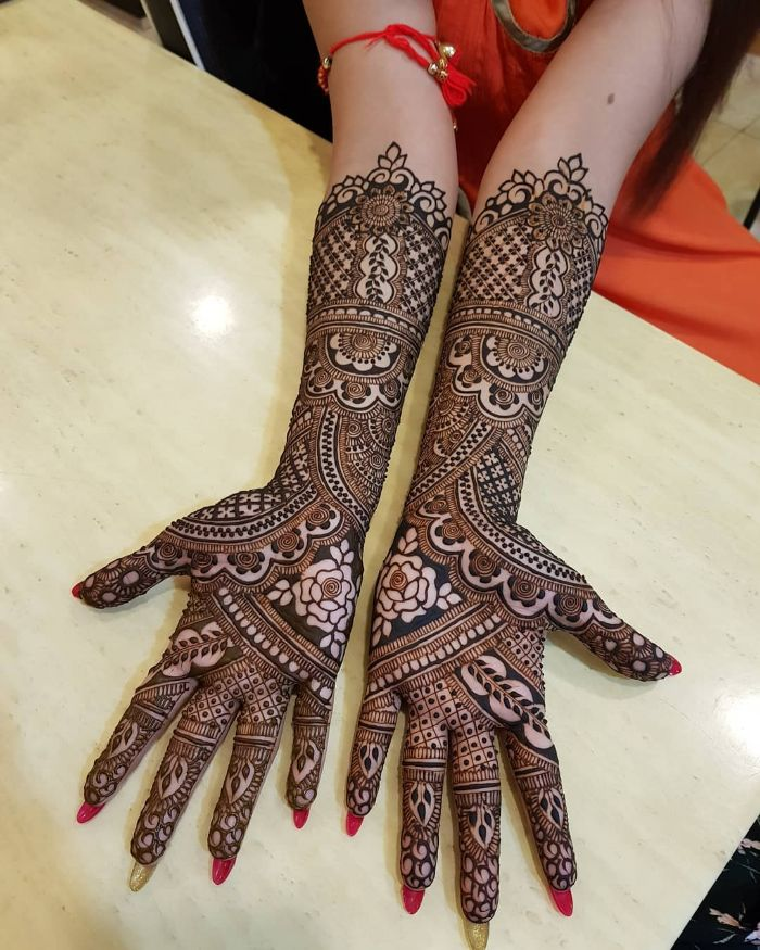 Simple Latest Bridal Mehndi Designs For Full Hands Front And Back