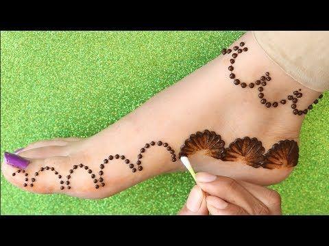 easy foot mehndi design