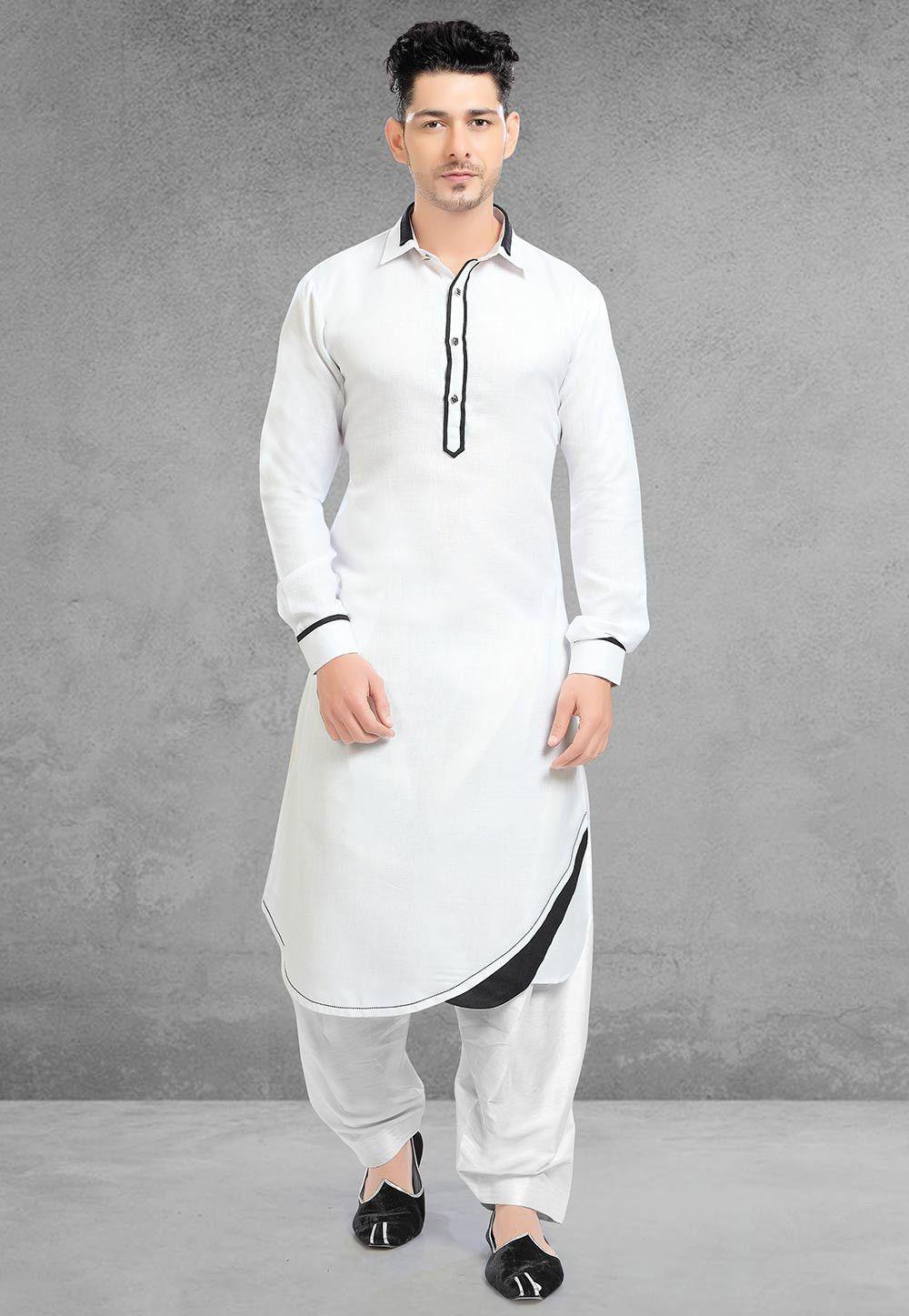 White Cotton Beautiful Design For Men
