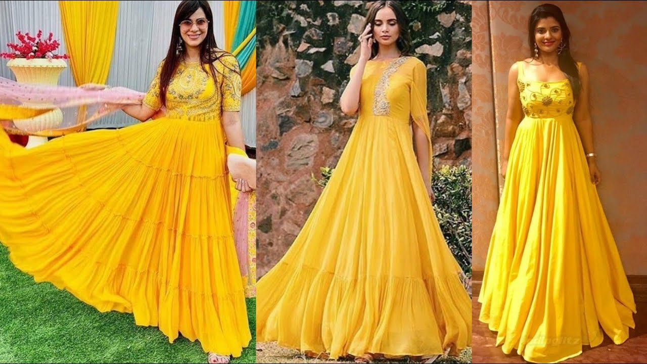 New Latest Yellow Gown design For Girls