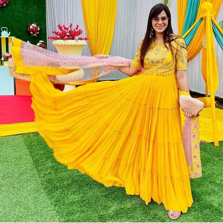 Party Wear Yellow Gown Design