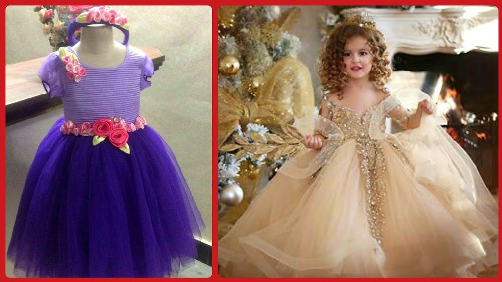 Silk Stylish Gown Design Fir Little Babay