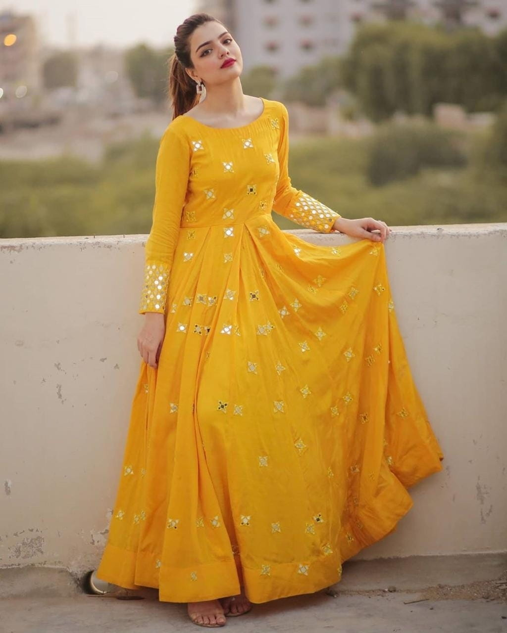 Unique Yellow Gown design for Girls
